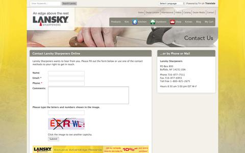 Screenshot of Contact Page lansky.com - Knife Sharpening Systems & Kits Since 1979 | Contact Lansky - captured Sept. 27, 2018