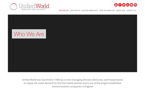 Screenshot of About Page unifiedworld.co.uk - Business Communications Company | Unified World - captured Feb. 26, 2016