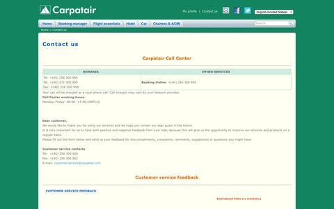 Screenshot of Contact Page carpatair.com - Carpatair   Contact us - captured Nov. 4, 2014
