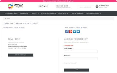 Screenshot of Login Page ayokaflowers.com - Customer Login - captured May 31, 2017