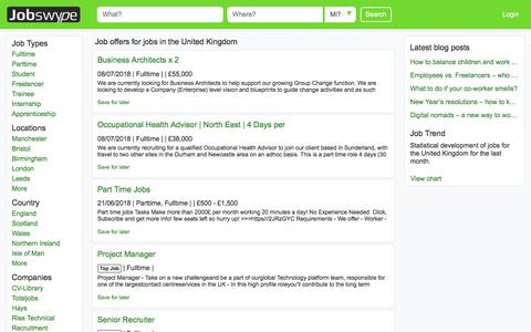 Screenshot of Jobs Page jobswype.co.uk - Jobs in the United Kingdom - job offers - career - work - Jobswype - captured July 9, 2018