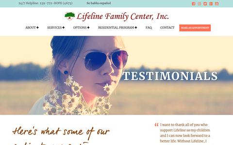 Screenshot of Testimonials Page lifelinefamilycenter.org - Testimonials Archive - Lifeline Family Center - captured Sept. 28, 2018