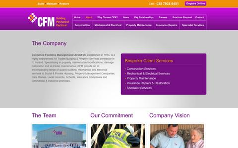 Screenshot of About Page cfm-ni.com - About Combined Facilities Management (CFM) Ltd - captured Oct. 2, 2014