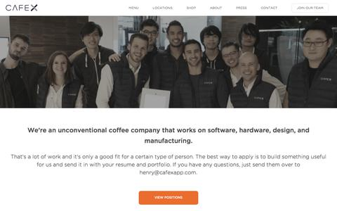 Screenshot of Jobs Page cafexapp.com - Cafe X: Careers at Cafe X - captured July 11, 2017