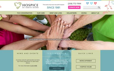 Screenshot of Home Page hospiceofnorthidaho.org - Hospice of North Idaho | The area's only local non-profit hospice - captured Jan. 23, 2015