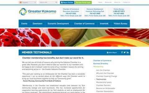 Screenshot of Testimonials Page greaterkokomo.com - Member Testimonials | Greater Kokomo Chamber of Commerce - captured Sept. 30, 2018
