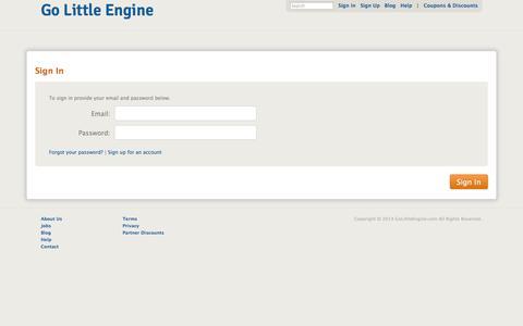 Screenshot of Login Page golittleengine.com - Go Little Engine - captured Oct. 2, 2014