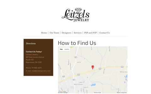 Screenshot of Maps & Directions Page leitzelsjewelry.com - Leitzel's Jewelry - Directions - captured May 17, 2017