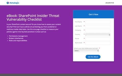 Screenshot of Landing Page metalogix.com - SharePoint Insider Threat Vulnerability Checklist - captured March 1, 2018