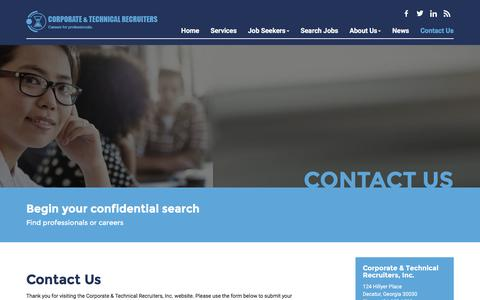 Screenshot of Contact Page ctrecruiters.com - Contact Us - Corporate and Technical Recruiters, Inc. - captured Feb. 1, 2016