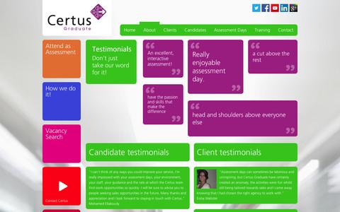Screenshot of Testimonials Page certusgraduate.com - Certus graduate recruitment testimonials - captured Jan. 27, 2016