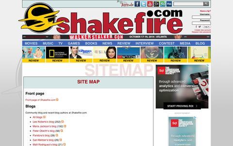 Screenshot of Site Map Page shakefire.com - Site map : Shakefire.com - captured Oct. 30, 2014