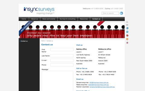 Screenshot of Contact Page insyncsurveys.com.au - Contact us - captured Oct. 6, 2014