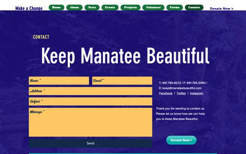 Screenshot of Contact Page manateebeautiful.com - kmbtoday | Contact - captured Oct. 15, 2018