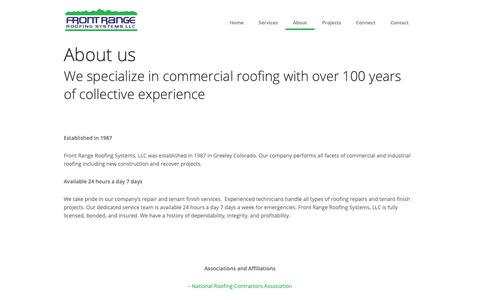 Screenshot of About Page frontrangeroofing.com - About us   Front Range Roofing - captured Oct. 11, 2018