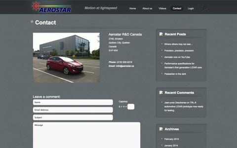 Screenshot of Contact Page aerostar.ca - Contact - Aerostar R&D Canada | Aerostar R&D  Canada - captured Oct. 4, 2014