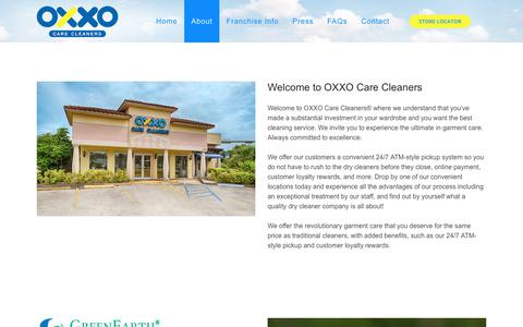 Screenshot of About Page oxxousa.com - About - OXXO Care Cleaners - captured Oct. 22, 2017