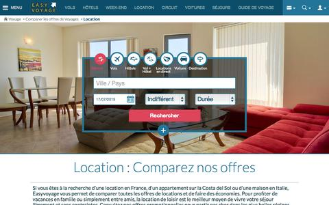 Screenshot of Locations Page easyvoyage.com - Location - Comparez les Prix des Offres Location - captured July 15, 2015