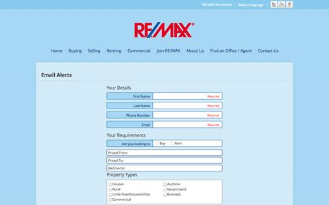 Screenshot of Signup Page remax.com.au - RE/MAX Australia > Email Alerts - captured Oct. 26, 2014