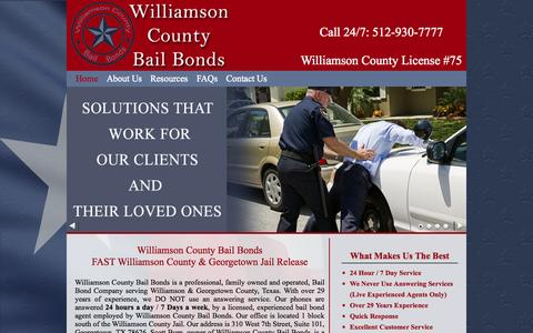 Screenshot of Home Page williamsoncountybail.com - Williamson County Bail Bonds offers 24 hour bail bond in Georgetown, TXWilliamson County Bail - Bail Bonds in Williamson County & Georgetown , Texas - captured Oct. 7, 2014