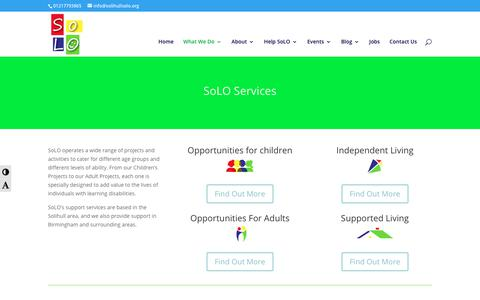 Screenshot of Services Page solihullsolo.org - Our Services | Solihull Life Opportunities - captured Oct. 18, 2018