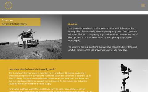 Screenshot of About Page anteaphotography.com - About Antea, Elevated Property Photographers South Wales - captured July 30, 2018
