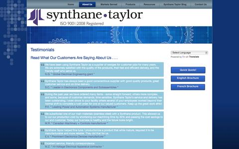 Screenshot of Testimonials Page synthanetaylor.com - Synthane Taylor | Testimonials - captured Dec. 21, 2016