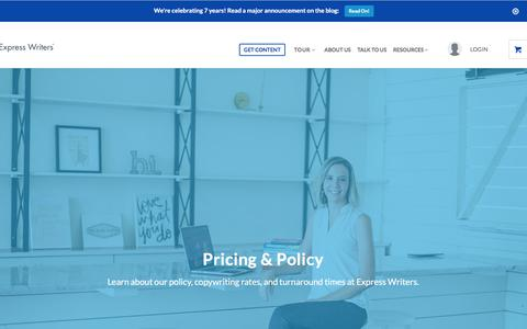 Screenshot of Pricing Page expresswriters.com - Policy: Turnaround Times, Guarantees & More | Express Writers - captured May 20, 2018