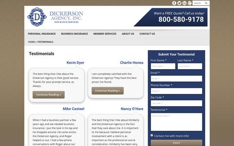 Screenshot of Testimonials Page dickersonagency.com - Testimonials | Dickerson Insurance Agency of Kennesaw Georgia - captured Jan. 7, 2016