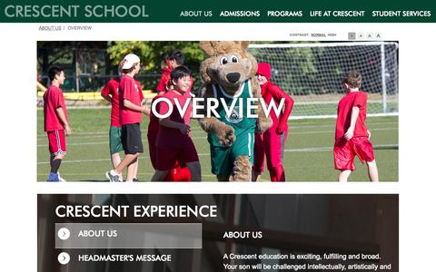 Screenshot of About Page crescentschool.org - Overview - captured Sept. 30, 2014