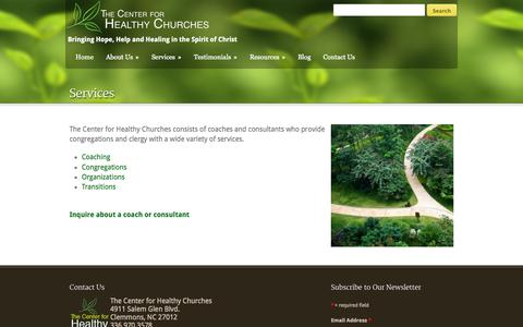 Screenshot of Services Page healthy-churches.org - The Center for Healthy Churches  Services - The Center for Healthy Churches - captured Oct. 1, 2014