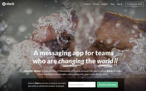 Screenshot of Home Page slack.com - Slack: Be less busy - captured Feb. 2, 2016