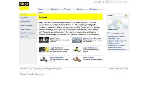 Screenshot of Products Page viega.us - Viega Contacts - Contact Information, Phone Numbers, Addresses - captured Oct. 7, 2014