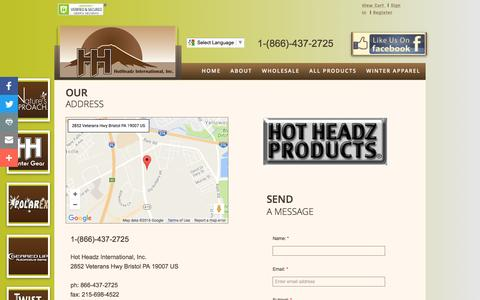 Screenshot of Privacy Page Contact Page hotheadzproducts.com - Contact us - captured Nov. 12, 2016