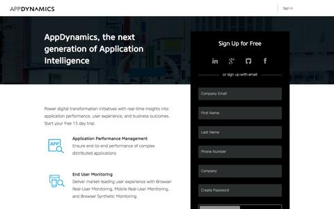 Screenshot of Trial Page appdynamics.com - Free Trial | AppDynamics - captured Nov. 16, 2016