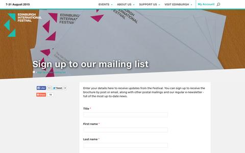 Screenshot of Signup Page eif.co.uk - Sign up to our mailing list | Edinburgh International Festival - captured Sept. 19, 2014