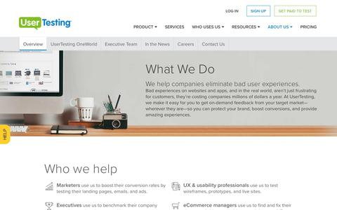 Screenshot of About Page usertesting.com - About UserTesting: What We Do and Who We Help - captured Sept. 7, 2017