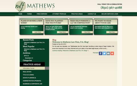 Screenshot of Blog mathewslawfirm.com - Estate Planning Blog | Mathews Law Firm Blog - captured Feb. 12, 2016