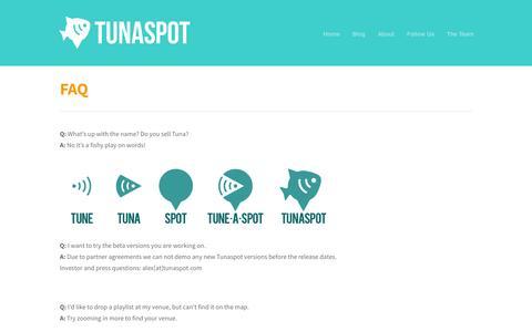 Screenshot of FAQ Page tunaspot.com - Tunaspot  » FAQ - captured Sept. 13, 2014