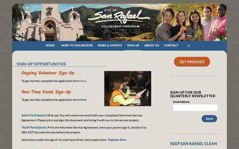 Screenshot of Signup Page sanrafaelvolunteers.org - SIGN-UP| San Rafael Volunteers - captured June 25, 2016