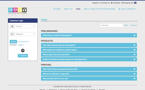 Screenshot of FAQ Page easygraphicsolutions.com - Easy Graphic Solutions - Printing - High quality printing materials. - captured Sept. 27, 2014