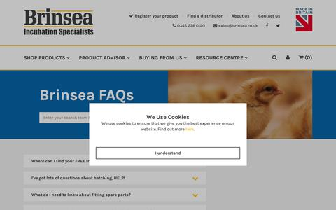 Screenshot of FAQ Page brinsea.co.uk - FAQs - Brinsea - captured Oct. 6, 2018