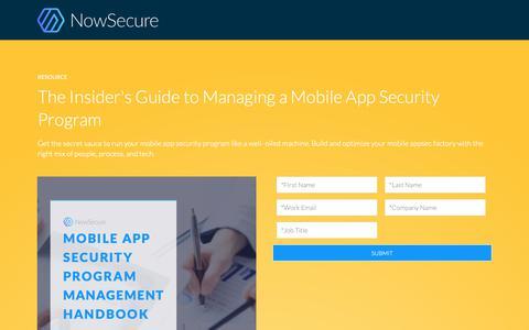 Screenshot of Landing Page nowsecure.com - Mobile App Security Program Management Handbook - captured Oct. 4, 2018