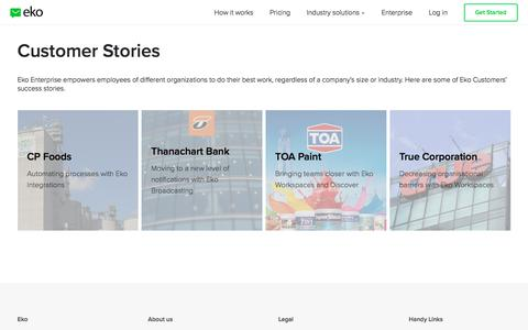 Screenshot of Case Studies Page ekoapp.com - Eko Customers Success | Eko Communications - captured Nov. 1, 2017