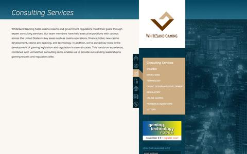 Screenshot of Services Page whitesandgaming.com - Consulting Services · WhiteSand Gaming - captured Oct. 1, 2014
