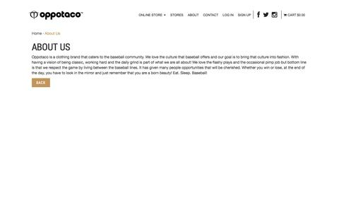 Screenshot of About Page oppotaco.com - About Us : OPPOTACO -, Sports & Lifestyle Apparel - captured Nov. 3, 2014