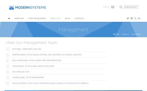Screenshot of Team Page modernsystems.com - Management - captured Oct. 28, 2014