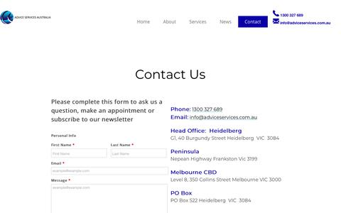 Screenshot of Contact Page adviceservices.com.au - Contact - captured Oct. 3, 2018