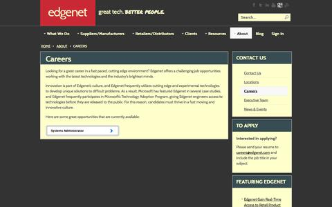Screenshot of Jobs Page edgenet.com - Careers - captured Oct. 28, 2014