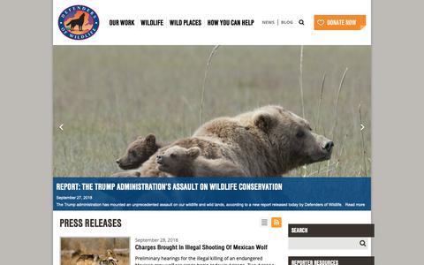 Screenshot of Press Page defenders.org - Newsroom Defenders of Wildlife - captured Oct. 1, 2018